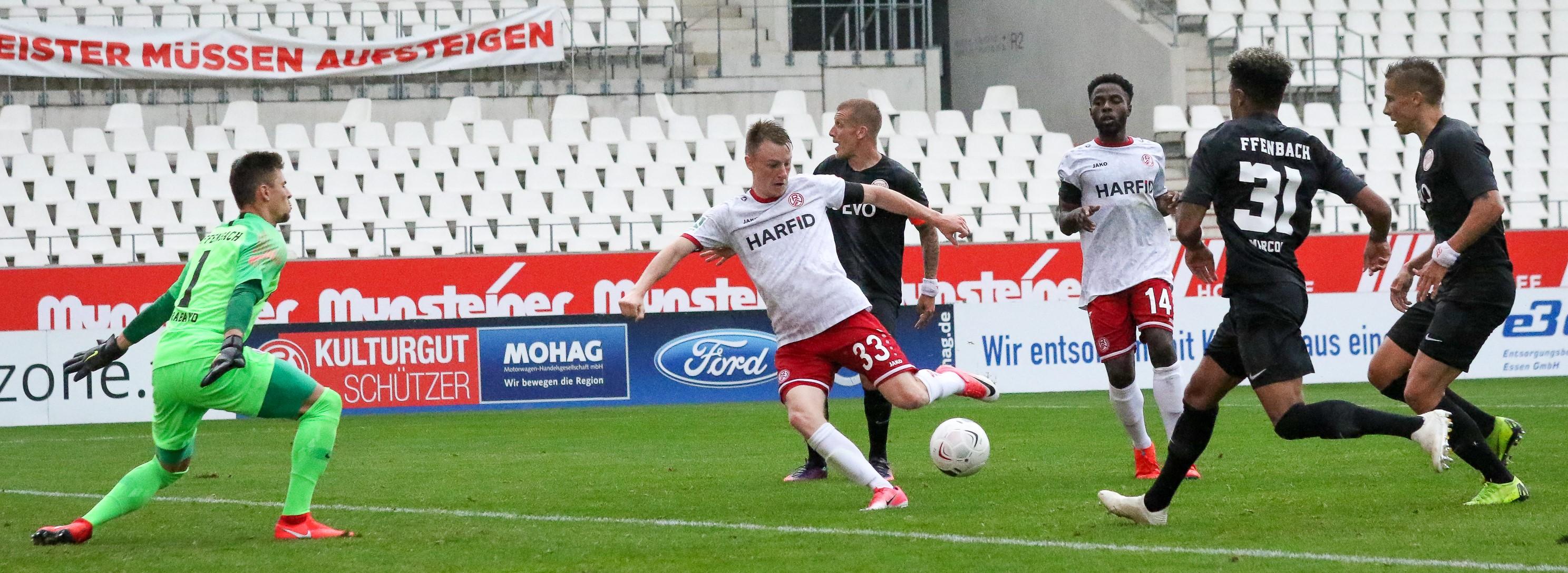 Bereits 2019 testete RWE in der Saisonvorbereitung gegen die Hessener Kickers Offenbach. (Foto: Endberg)