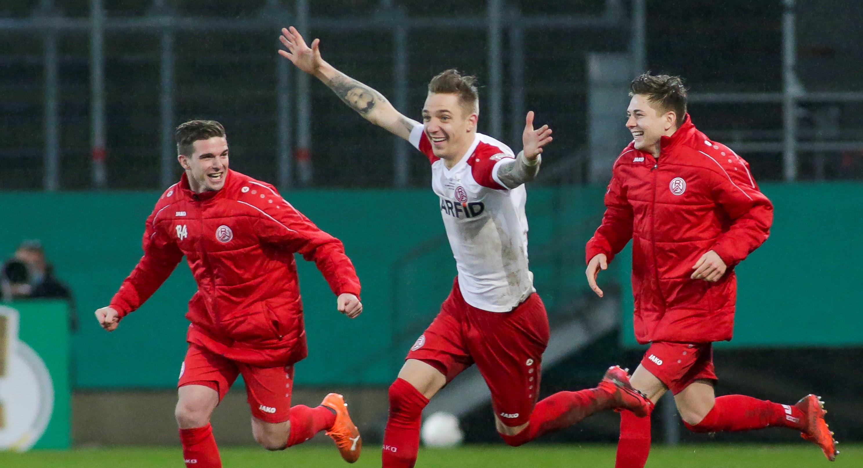Grund zur Freude: RWE liefert auch zum DFB-Pokal Viertelfinale die passende Ausstattung! (Foto: Endberg)