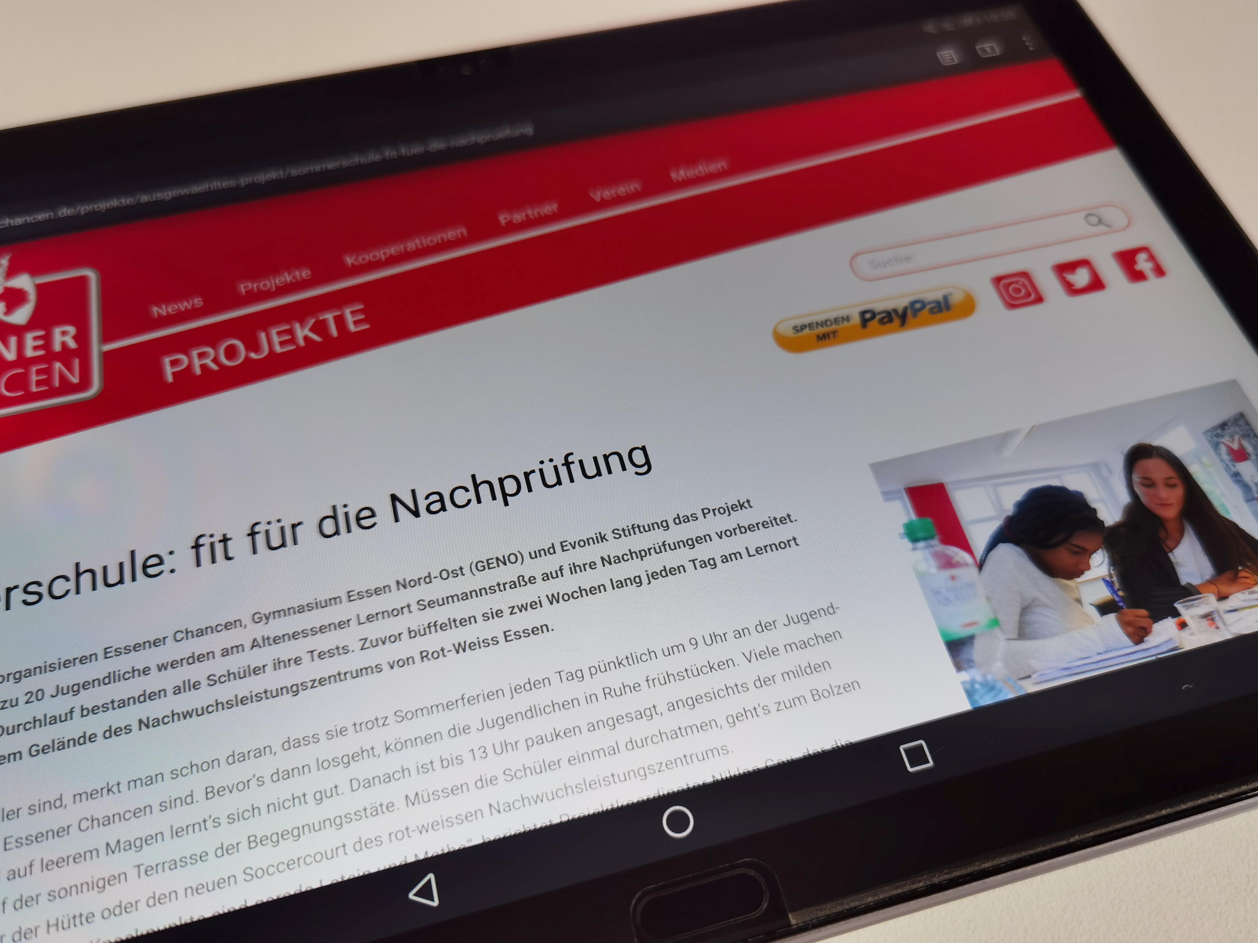 Optischer Hingucker: Die Essener-Chancen-Seite ist erneut responsiv gestaltet und macht auf allen Endgeräten eine gute Figur. Foto: Müller/EC