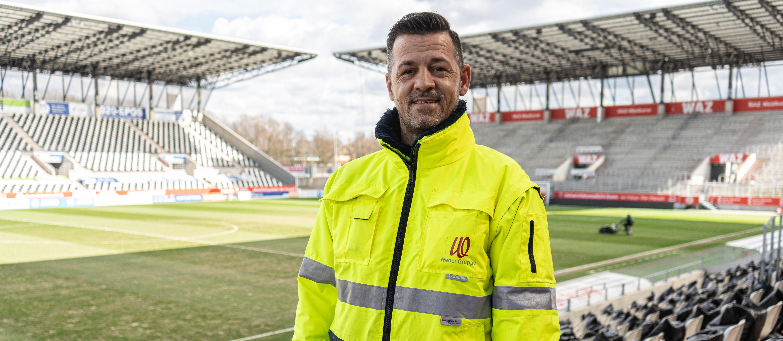 Zusammenarbeit auch vor Ort: An Heimspieltagen ist Rudolf Weber auch im Stadion Essen am Werk. (Foto: Rudolf Weber)