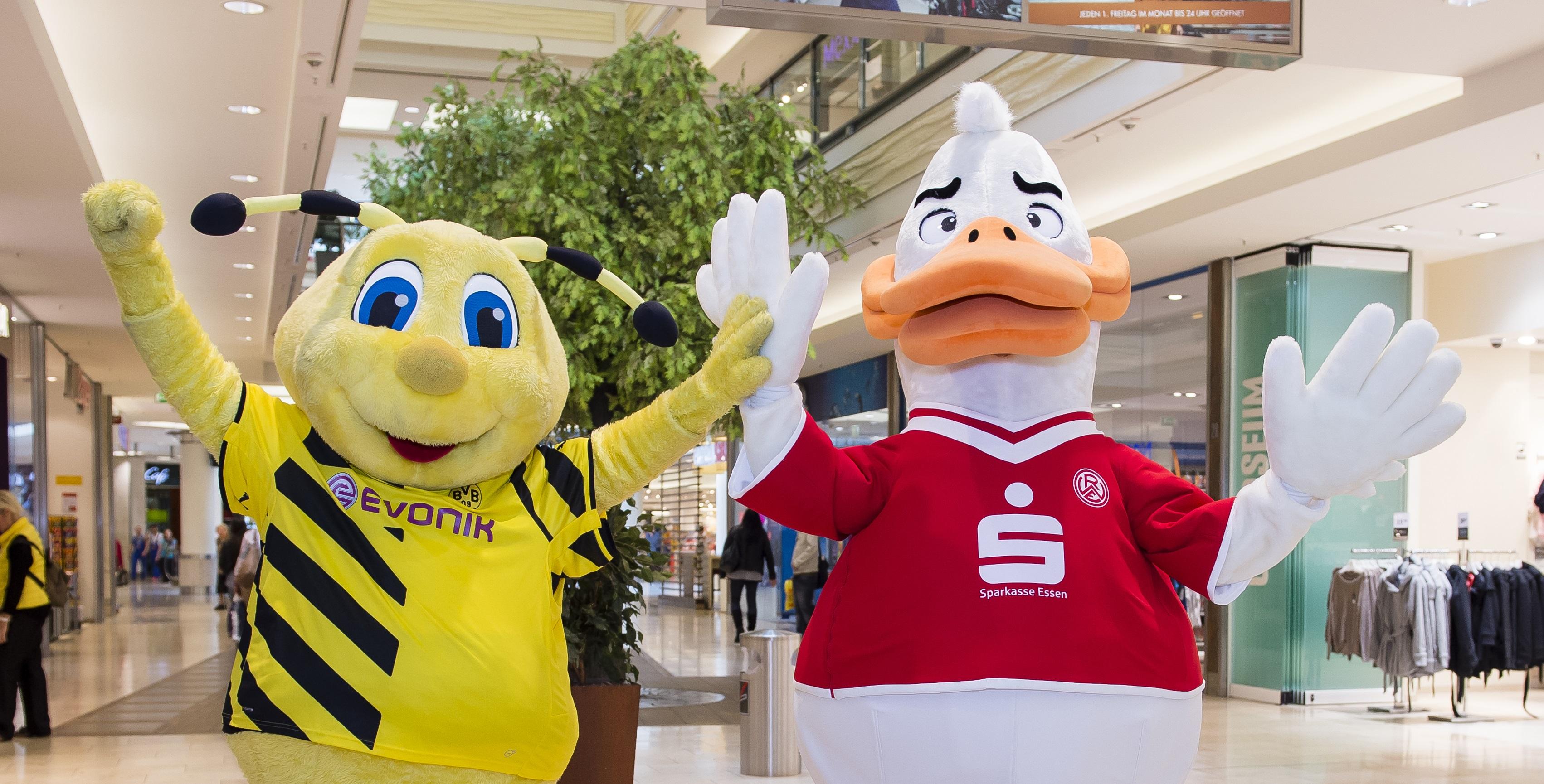 Seit 2014 kooperieren Rot-Weiss Essen und der BVB im Limbecker Platz.