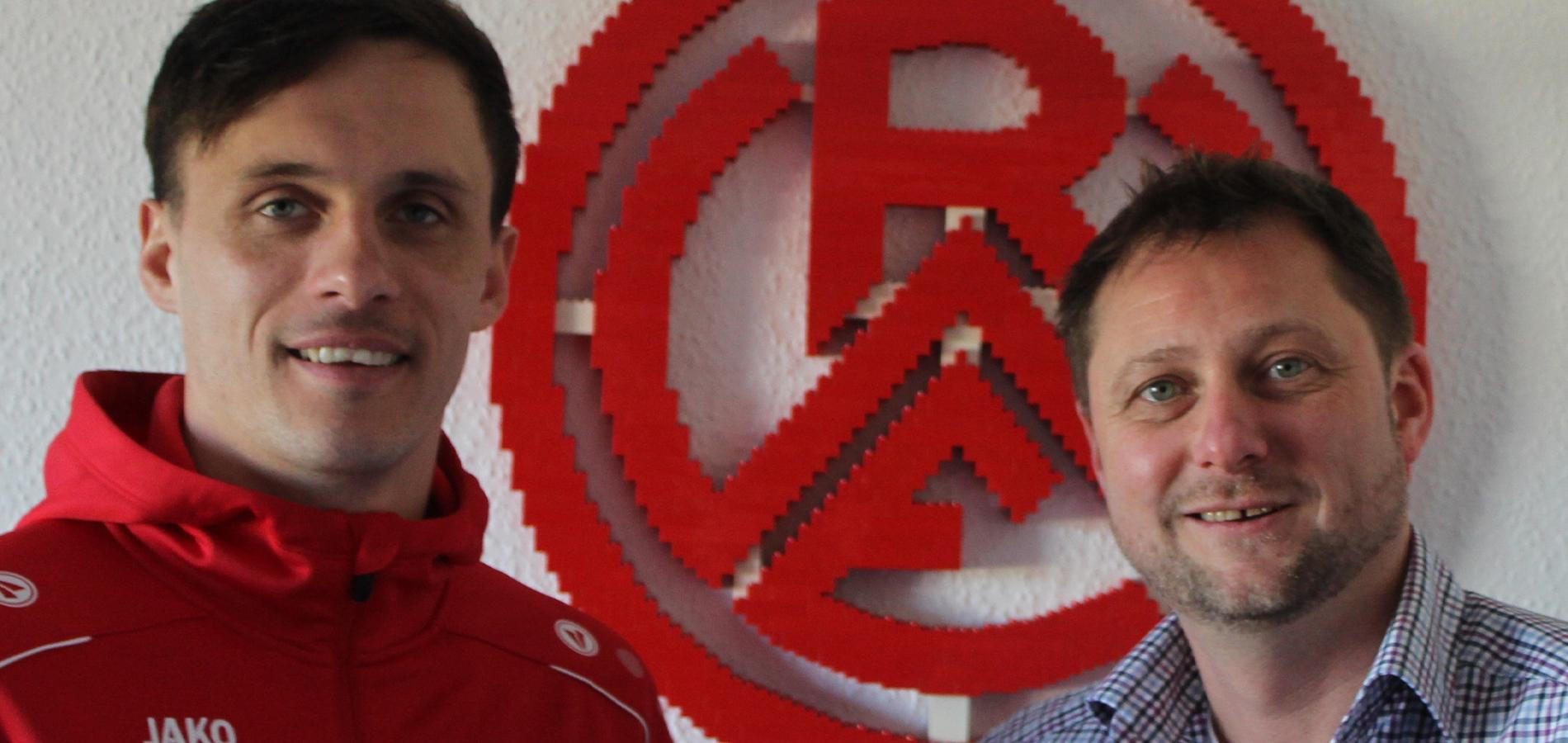 RWE-Angreifer Marcel Platzek (l.) und Carsten Tennler vor der Corona-Zeit.